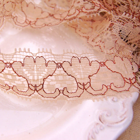 Fancy Embroidery Floral Peach Tan Lace Trim 1 ⅜