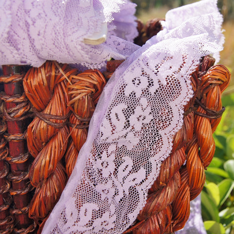 Lavendar Floral Scalloped Ruffled Lace Trim 2