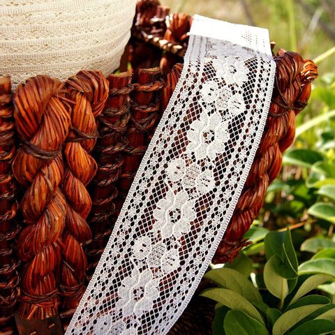 Bordered Floral Off White Vintage Lace Trims 2