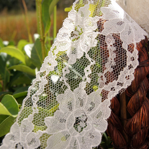 Big Floral Off White Raschel Lace Trim 2¾