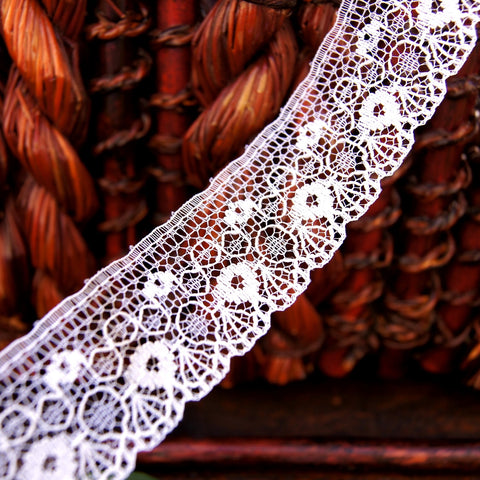 Intricate Accent White Flat Lace Trim 1