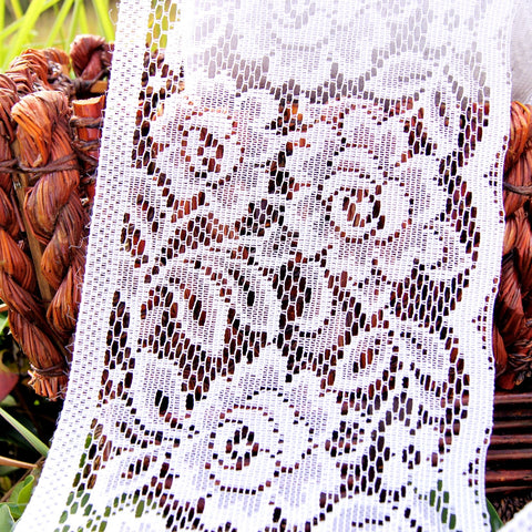 Pure White Rose Filet Style Wide Lace Trim