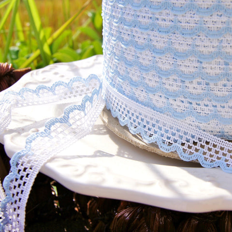 Baby Blue White Scalloped Lace Edging