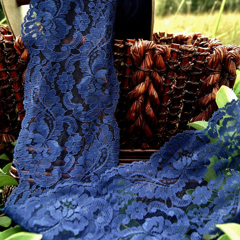 Navy Floral Leaf Galloon Lace Trim