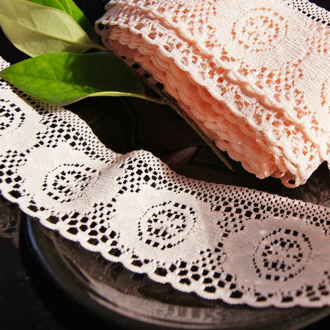 Medallion Peach Floral Lace Trim