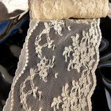 "Natural Soft Tulle Embroidered Floral Lace Trim 3½"" wide"