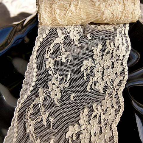 Natural Soft Tulle Embroidered Floral Lace Trim 3½