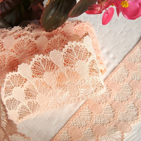 Peach Semi-Stiff Lace Trim
