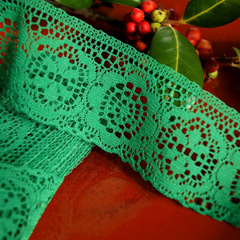 Medallion Green Floral Lace Trim