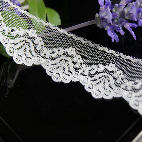 Ivory Floral Scallop Edge Lace Trim 1½