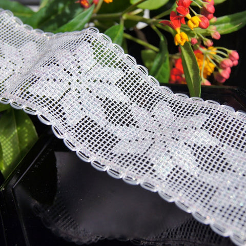 White Iridescent Snowflakes Wire Edged Lace
