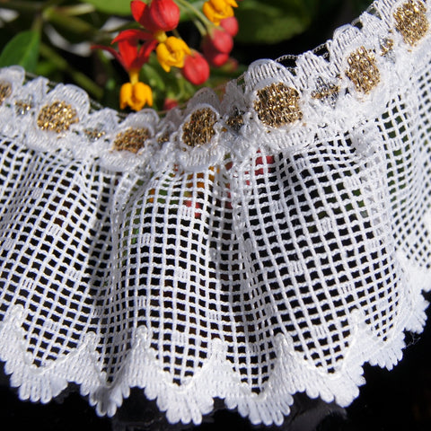 Gold Metallic on White Scalloped Picot Ruffled Lace
