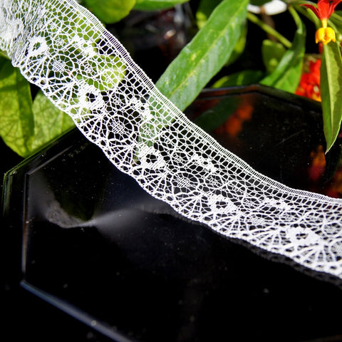White Filigree Floral Lace Trim