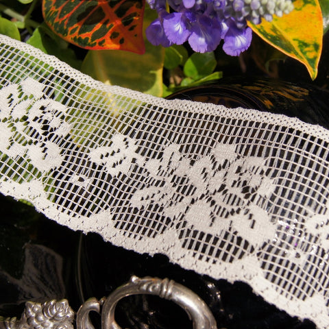 Floral Lace Trim - Natural White