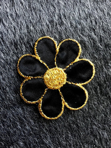 Vintage Metallic Gold Black Flower Decorative Iron-on Embroidery Applique Patches #5089