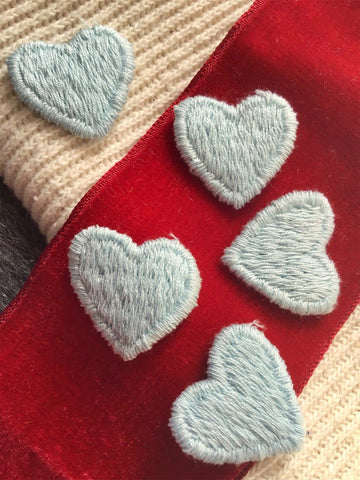 Light Blue Heart Vintage Embroidery Applique Sewing Patches #5099