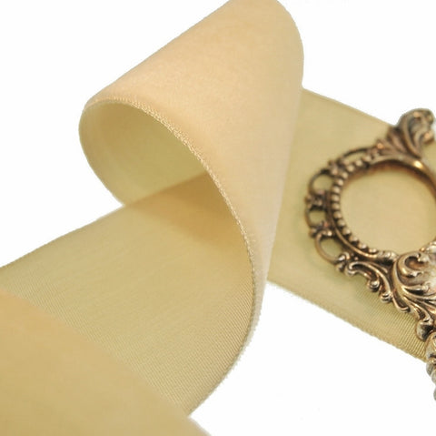 Beige Wheat Velvet Ribbon Vintage from France 50mm