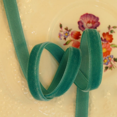 Aquamarine Green Velvet Ribbon Vintage from Switzerland 7mm