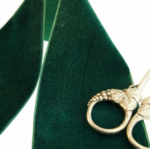 Hunter Green Velvet Ribbon Vintage from France 68mm