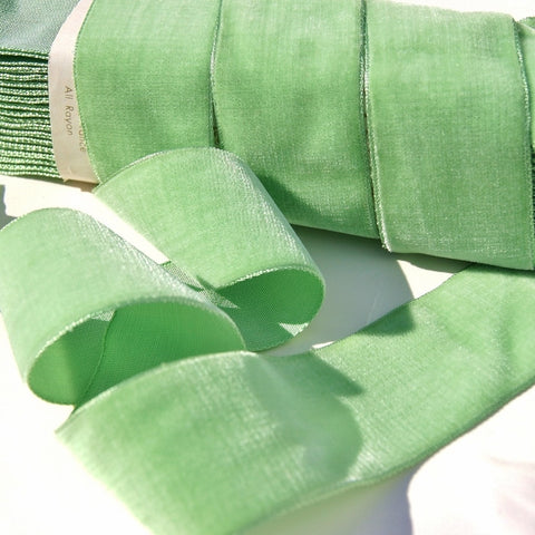 Light Lime Velvet Ribbon Vintage from France 36mm
