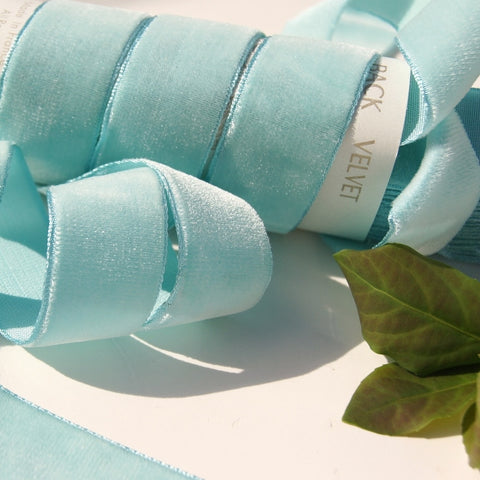 Light Aqua Velvet Ribbon Vintage from France 25mm