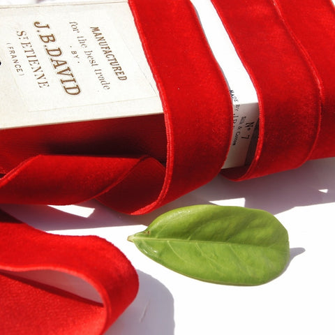Cardinal Red Silk Cotton Satin Back Velvet Ribbon Mousquetaire Brand by J.B. David St. Etienne Vintage from France 28mm