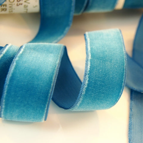 Crystal Blue Velvet Ribbon Vintage from France 22mm