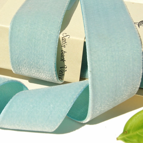 Blue Peppermint Satin Back Velvet Ribbon Vintage from Switzerland 40mm