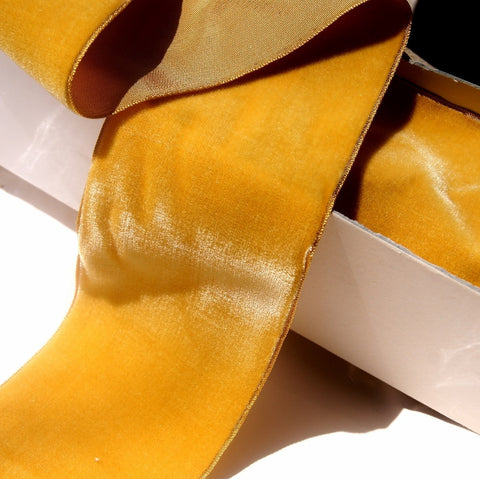Gold Velvet Ribbon Vintage from France 72mm