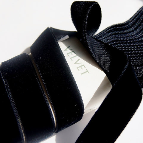 Black Velvet Ribbon Vintage from France 16mm