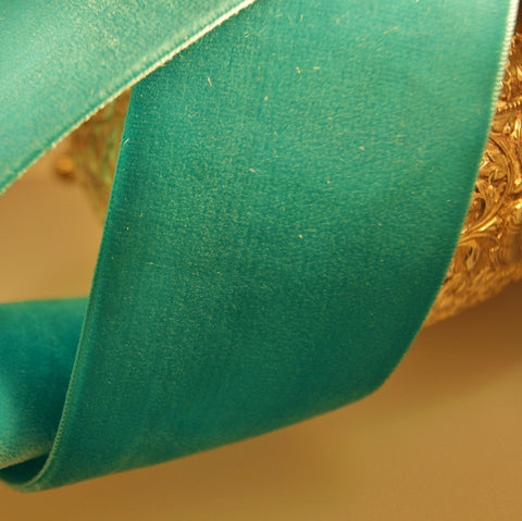 Aquamarine Green Velvet Ribbon Vintage from Switzerland 50mm