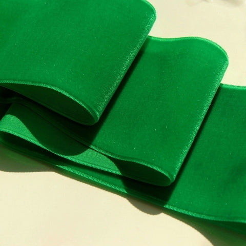 Green Velvet Ribbon Vintage from France 78mm