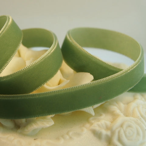 Celadon Green Velvet Ribbon Vintage from Switzerland 9mm