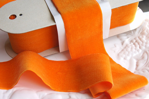 Orange Velvet Ribbon Vintage from France 70mm