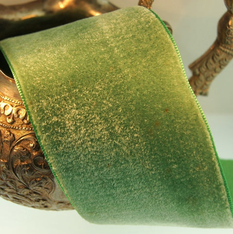 Antique Green Satin Back Cotton Silk Velvet Ribbon Vintage from France 50mm
