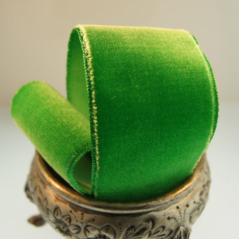Grass Green Velvet Ribbon Vintage from France 36mm