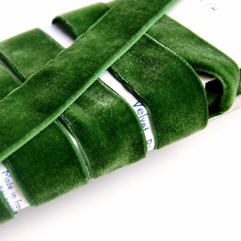 Hunter Green Velvet Ribbon Vintage from France 24mm