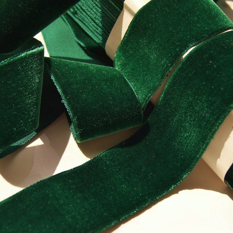 Hunter Green Velvet Ribbon Vintage from France 36mm