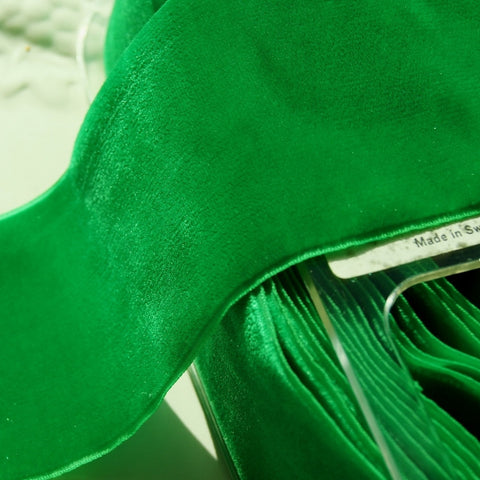 Green Velvet Ribbon Vintage from Switzerland 72mm