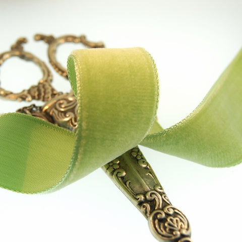 Old Lime Velvet Ribbon Vintage from France 22mm