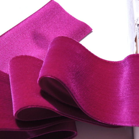Fuchsia Wine Satn Back Velvet Ribbon Vintage from Switzerland 58mm