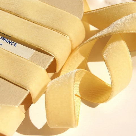 Honey Velvet Ribbon Vintage from France 16mm