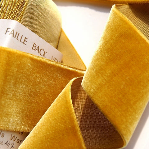 Gold Velvet Ribbon Vintage from France 48mm