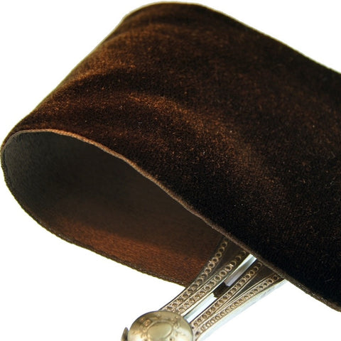 Brown Satn Back Velvet Ribbon Vintage from Switzerland 72mm
