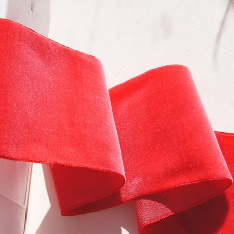 Hot Melon Velvet Ribbon Vintage from France 72mm