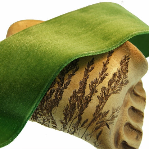 Green Leaf Velvet Ribbon Vintage from France 50mm