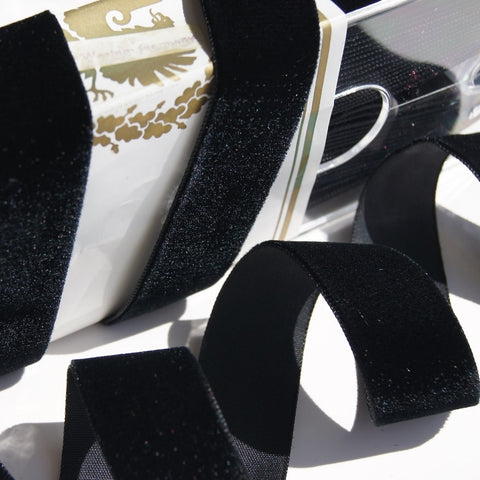 Black Velvet Ribbon Vintage from Germany 24mm
