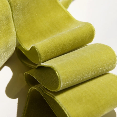 Golden Lime Velvet Ribbon Vintage from France 50mm