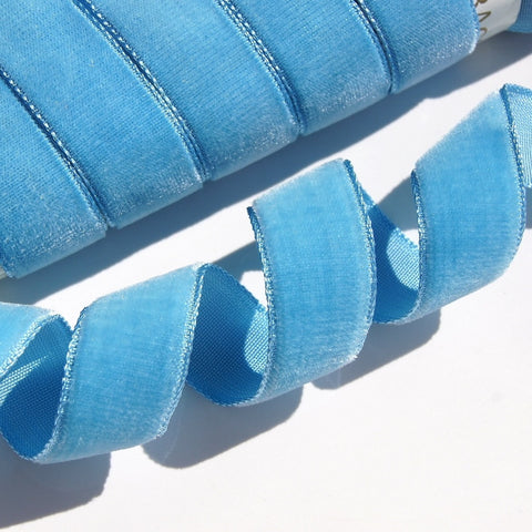 Blue Heaven Velvet Ribbon Vintage from France 16mm