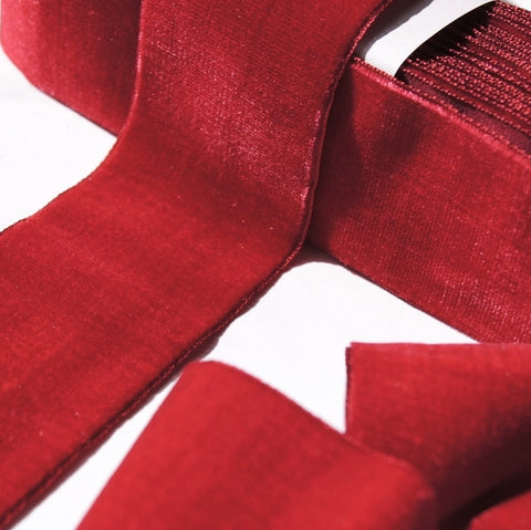 Deep Red Velvet Ribbon Vintage from France 50mm